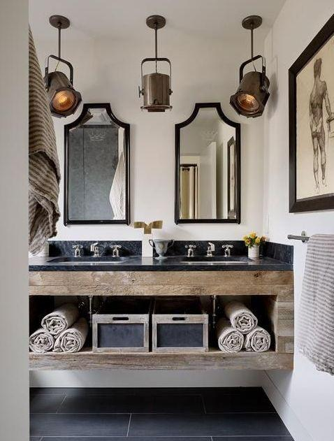 rustic light fixtures for a unique bathroom-Rough, yet elegant and authentic Private Room