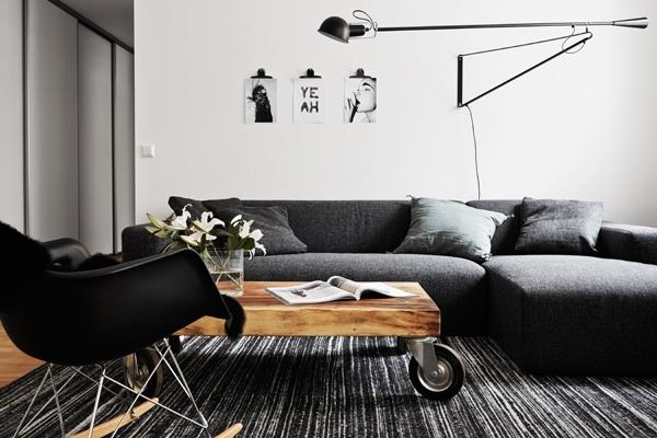 simple and elegant black and white living room with contemporary furniture- Minimalist Small Apartment Interior Design
