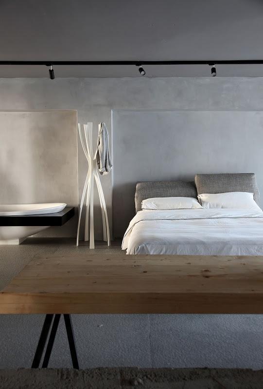 simple minimalist loft bedroom in grey-17 Stirring Minimalist Bedroom Interior Design Images