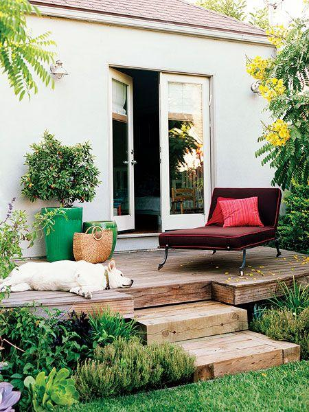 small-front-wooden-deck-with-comfortable-relaxing-chair- Contemporary Outdoor Garden Ideas