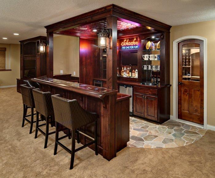 Small home bar in dark and moody colors located in the basement - Interior Design Trends - Having a Pub in the house
