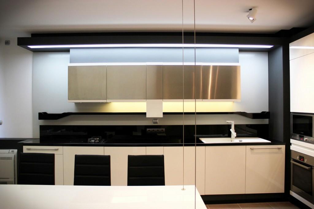 small kitchen in a modern apartment-Interior Design of Apartment in Bulgaria