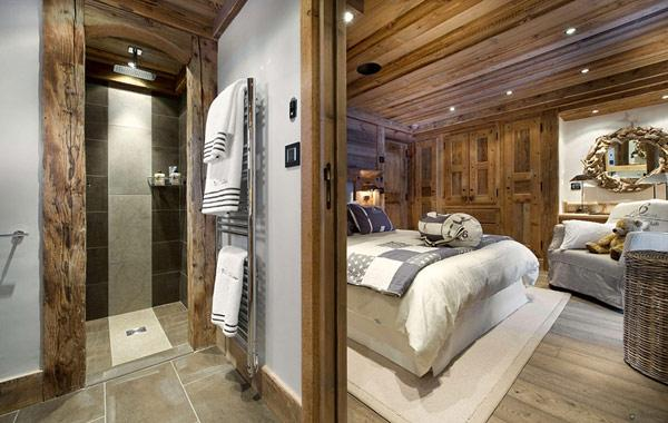 small-rustic-bathroom-in-contemporary-style- Le Petit Chateau in the French Alps