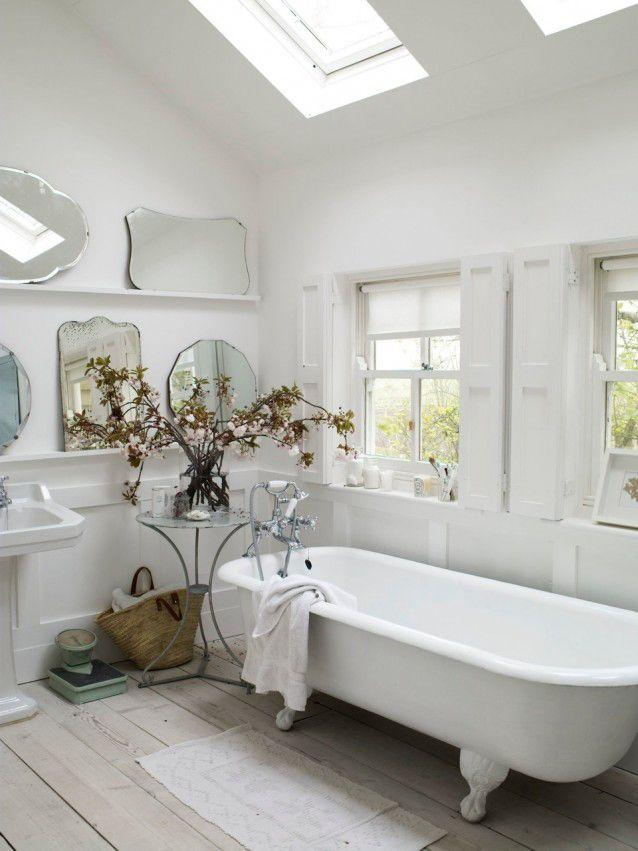 small white and pretty rustic bathroom with roll top-Rough, yet elegant and authentic Private Room