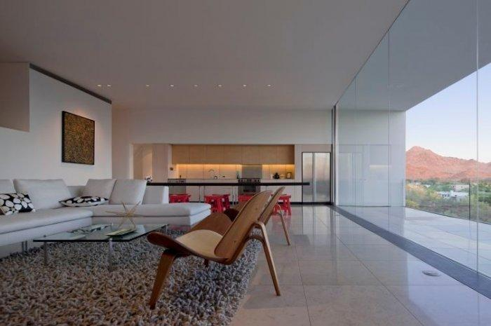 Spacious luxurious minimalist interior design of a living and dining areas - Inner and Outer stylish simplicity in Arizona home