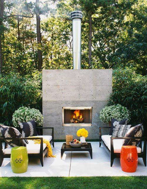stylish-and-elegant-zone-with-modern-sofas-and-outdoor-fireplace- Contemporary Outdoor Garden Ideas