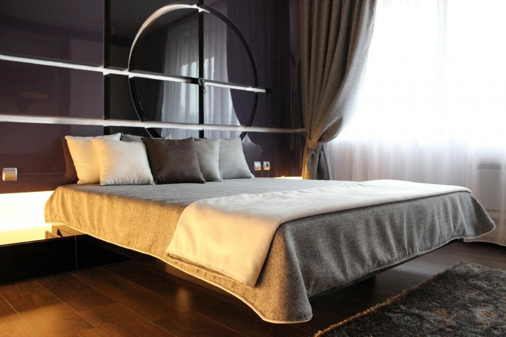 stylish contemporary bedroom in dark tones-Interior Design of Apartment in Bulgaria