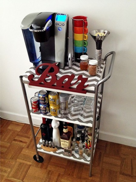 Bar cart for coffee and alcohol drinks