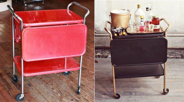 Bar cart in mid-century modern style