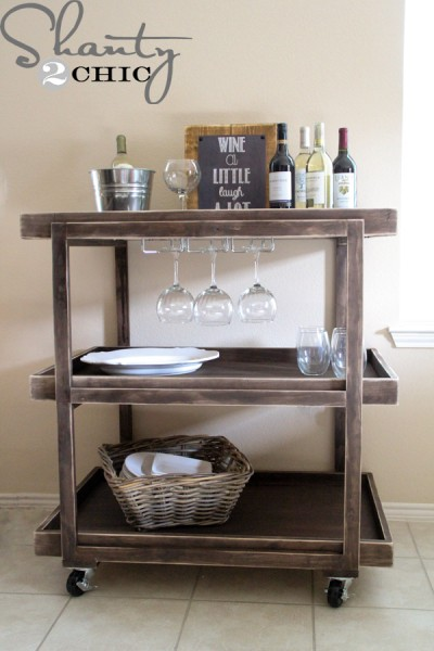 Bar cart made of dark wood