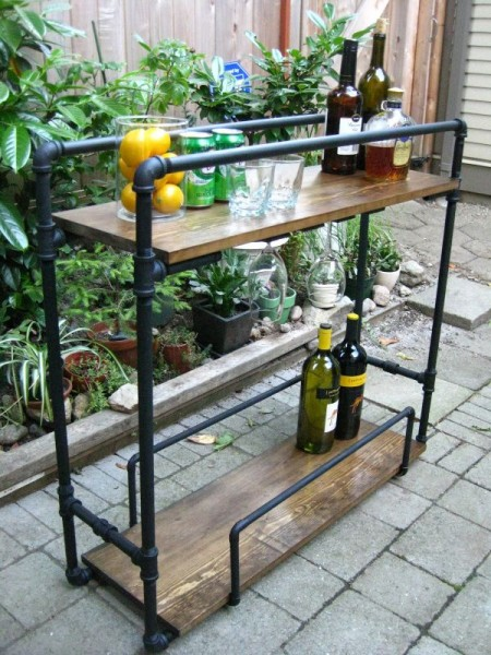Bar cart made of pipes
