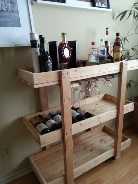 Bar cart made of wood