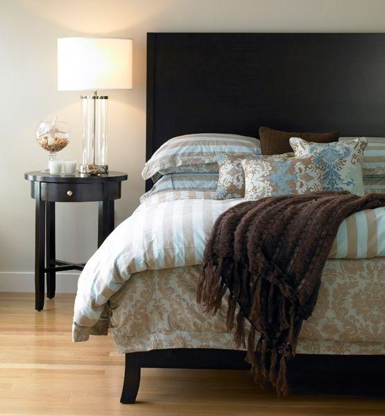 Bedroom color palette of creamy neutrals and chocolate browns– elegant interior design for sleeping rooms