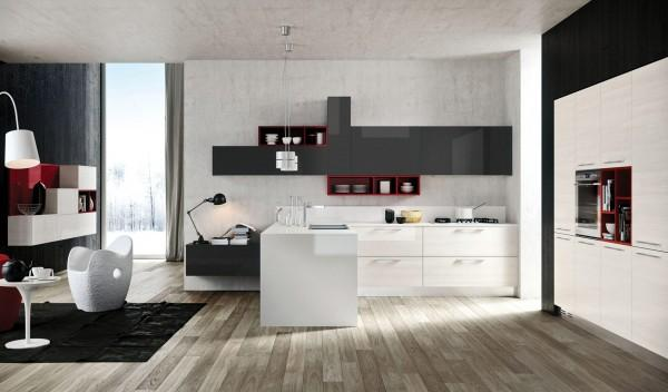Charcoal kitchen with red accents