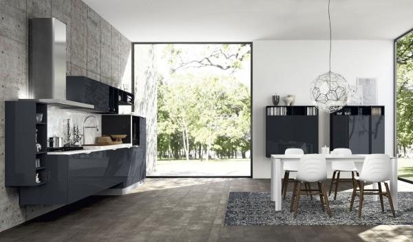 Charcoal minimalist modern kitchen