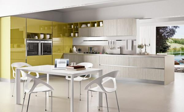 Chartreuse units in a modern white kitchen