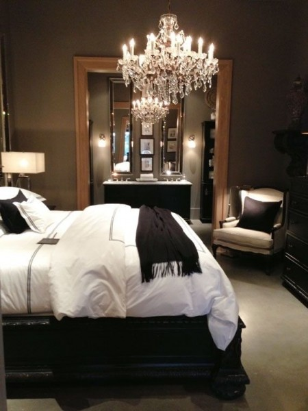 Classic guest room with crystal chandelier-Bedroom Interior Design Examples Inspired from Hotel Rooms