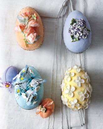 Colorful decorated Easter eggs with applications