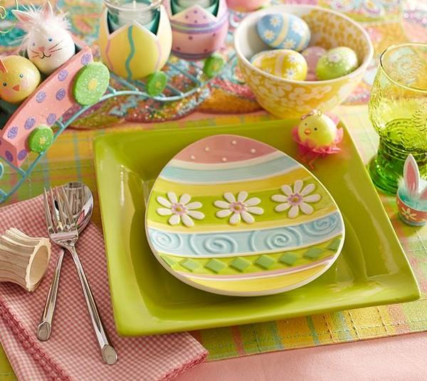 Colorful egg-shaped Easter plate