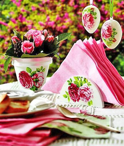 Colorful eggs with beautiful rose applications