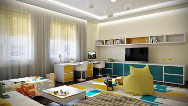 Colorful graphic rug inside a kids room- interior design and decoration ideas for children living areas