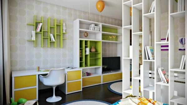 Colorful kids room with library shelves- interior design and decoration ideas for children living areas