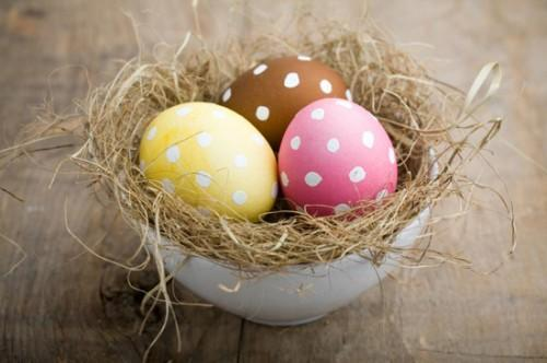 Colorful white dotted Easter eggs