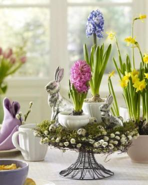 Easter Decorations - Table Centerpieces Made as Nests