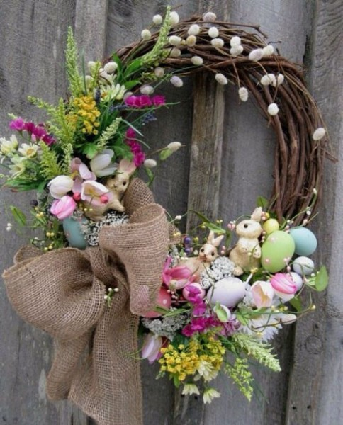 Easter Wreath made of branches-home decorations with impressive holiday ideas