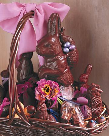 Easter basket full of chocolate bunnies