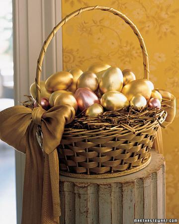 Easter basket full of golden colored eggs
