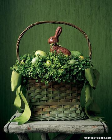 Easter basket full of green clovers