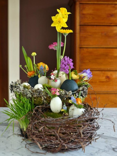 Easter basket full of various items – home decorating ideas for funny and joyful atmosphere