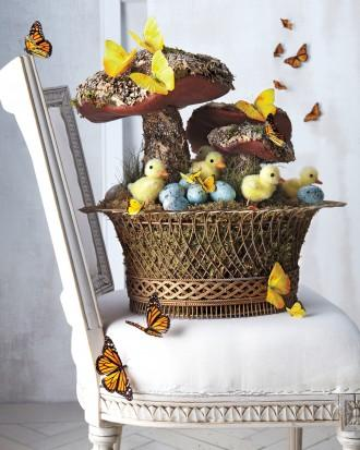 Easter basket with forest motifs - mushrooms, butterflies, chics, eggs