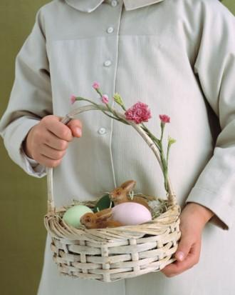 Easter basket with giant pale colored eggs