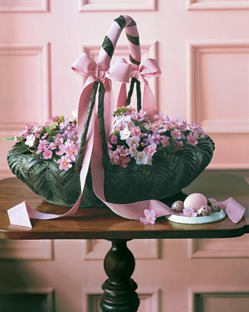 Easter basket with pink little flowers
