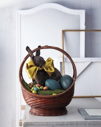 Easter basket with real-size bunny in it