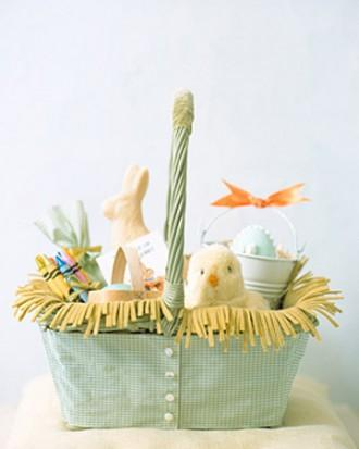 Easter basket with very funny yellow chicken