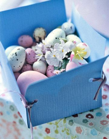 Easter blue paper box with eggs