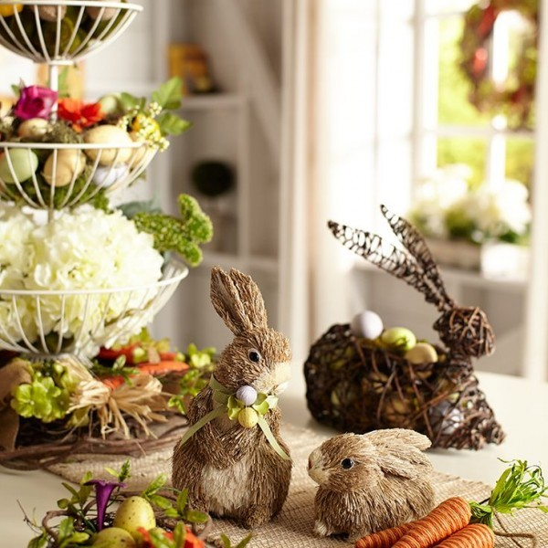 Easter bunnies placed on the table