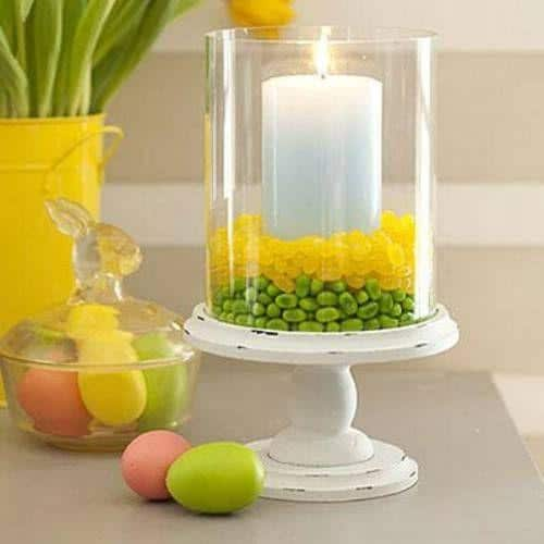 Easter candle in a hurricane-home decorations with impressive holiday ideas