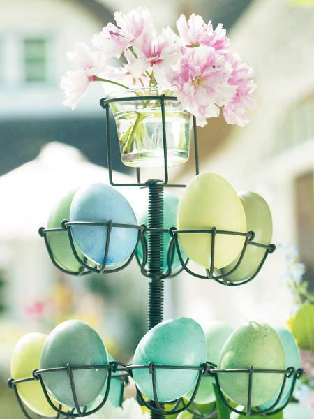 Easter colorful eggs on a metal table centerpiece