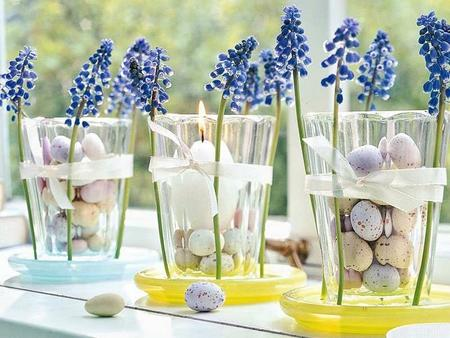 Easter decoration – a candleholder full of flowers
