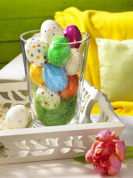 Easter eggs in vivid colors