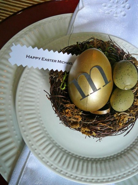 Easter eggs inside a nest and personalized tag message – home decorating ideas for funny and joyful atmosphere