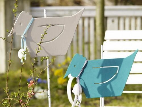 Easter outdoor colorful cardboard birds