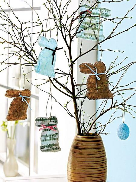 Easter paper bunnies on tree brances