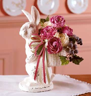 Easter table and a porcelain bunny centerpiece