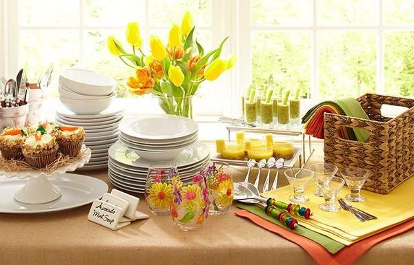 Easter table with fresh yellow tulips