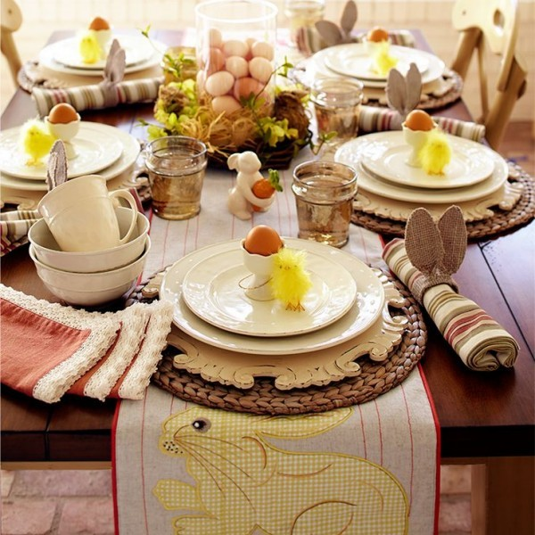 Easter table with white flatware